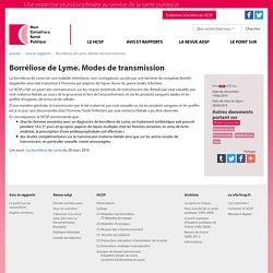 HAUT CONSEIL DE LA SANTE PUBLIQUE 29/06/16 Borréliose de Lyme. Modes de transmission