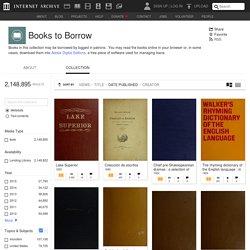 Books to Borrow : Free Texts : Free Download, Borrow and Streaming