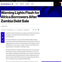 Warning Lights Flash for Africa Borrowers After Zambia Debt Sale