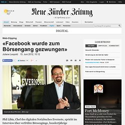 """Facebook was forced to IPO"" - NZZ.ch, 06/15/2012"