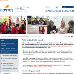 BOSTES Teacher Accreditation - Write and submit a report