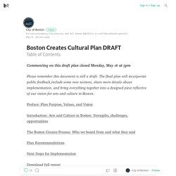 Boston Creates Cultural Plan