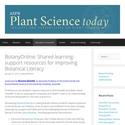 BotanyOnline: Shared learning-support resources for improving Botanical Literacy – Plant Science Today