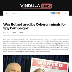 Was Botnet used by Cybercriminals for Spy Campaign?