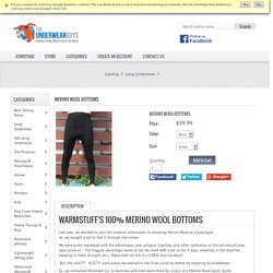 Merino Wool Bottoms, Warmstuff distributing