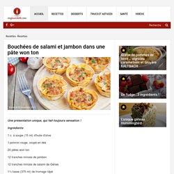 Bouchées de salami et jambon dans une pâte won ton - Recettes - Ma Fourchette