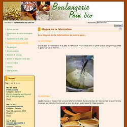 Pain bio - Boulangerie - Etapes de la fabrication