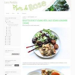 Boulettes de riz et légumes rôtis, sauce sésame & gingembre [vegan] - carottes, panais, pommes de terre, brocoli