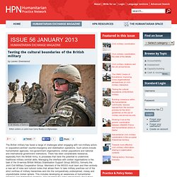 Testing the cultural boundaries of the British military - Issue 56 - Humanitarian Exchange Magazine