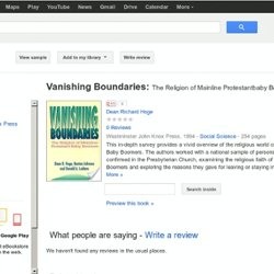 Vanishing boundaries: the religion ...