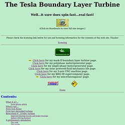 Boundary Layer (Tesla) Turbine Page