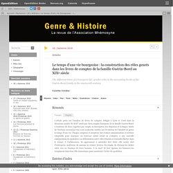 Le temps d'une vie bourgeoise: la construction des rôles genrés dans les livres de comptes de la famille Guérin-Borel au XIXesiècle