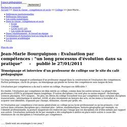 """Jean-Marie Bourguignon : Evaluation par compétences : """"un long processus d'évolution dans sa pratique"""" - Compétences"""