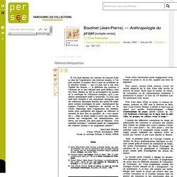 Boutinet (Jean-Pierre). — Anthropologie du projet
