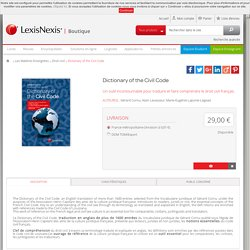 Boutique LexisNexis -LexisNexis - Livres - DICTIONARY OF THE CIVIL CODE