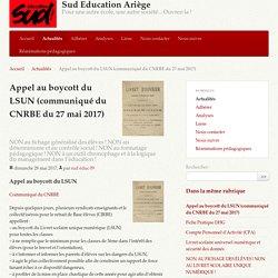 Appel au boycott du LSUN (communiqué du CNRBE du 27 mai 2017) - Sud Education Ariège