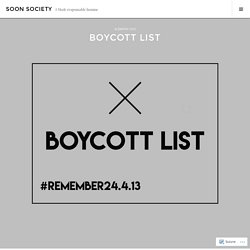 BOYCOTT LIST – SOON SOCIETY