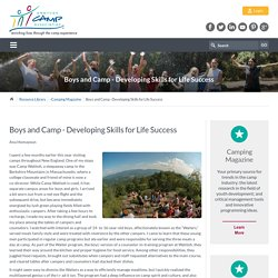 Boys and Camp - Developing Skills for Life Success