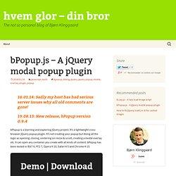 bPopup.js – A jQuery modal popup plugin