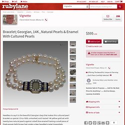 Bracelet; Georgian, 14K , Natural Pearls & Enamel With Cultured from vignette on Ruby Lane