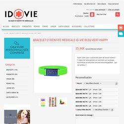 BRACELET D'IDENTITE MEDICALE ID-VIE BLEU-VERT HAPPY