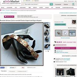 Bracelet Artisan Cuivre martelé Fusion Argent sterling et Argent : Bracelet par lucilleparenteau