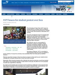 UCT braces for student protest over fees:Monday 19 October 2015