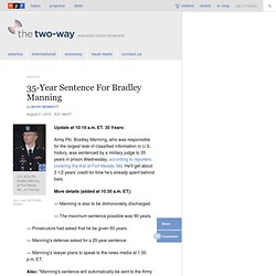 Bradley Manning Sentenced To 35 Years In WikiLeaks Case : The Two-Way