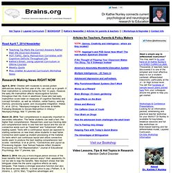 Brain-based learning, ideas, and materials