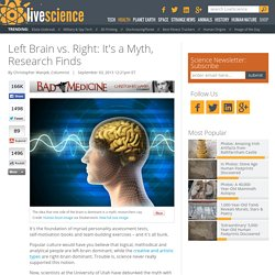 Left Brain vs. Right: It's a Myth, Research Finds