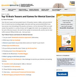 Top 15 Brain Teasers and Games for Mental Exercise