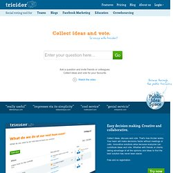 Brainstorming and Voting Amazingly Easy. Free Online Tool | tricider