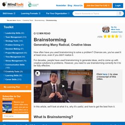 Brainstorming - Creativity Techniques from MindTools.com