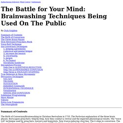 The Battle for Your Mind: Brainwashing Techniques Being Used On The Public...