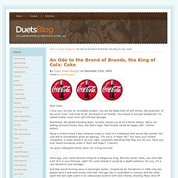 An Ode to the Brand of Brands, the King of Cola: Coke : Duets Bl
