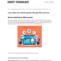Lets make your brand popular through SEO services