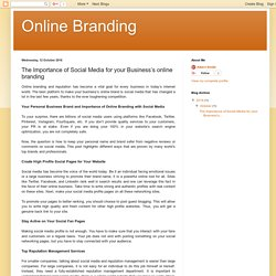 Online Branding: The Importance of Social Media for your Business's online branding
