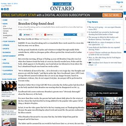 Ontario News: Brandon Crisp found dead