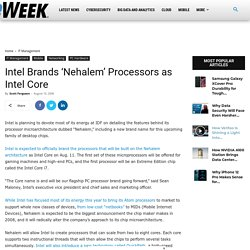 Intel Brands 'Nehalem' Processors as Intel Core