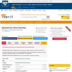 Société BRASSERIE DES TROIS FONTAINES à BRETENIERE (Chiffre d'affaires, bilans, résultat) avec Verif.com - Siren 439216029