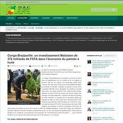 Congo-Brazzaville: un investissement Malaisien de 372 milliards de FCFA dans l'économie du palmier à huile