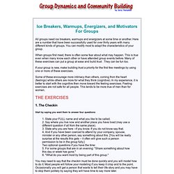ice breakers, warmups, energizers, and motivators for groups
