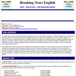 Breaking News English ESL Lesson Plan on Accents