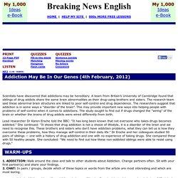 Breaking News English ESL Lesson Plan on Addiction