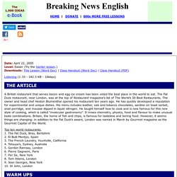 Breaking News English ESL Lesson Plan on British Food