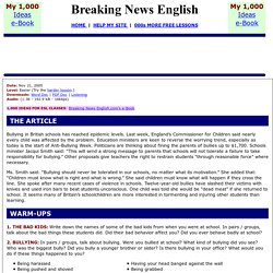 Breaking News English ESL Lesson Plan on Bullying