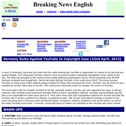Breaking News English ESL Lesson Plan on Copyright