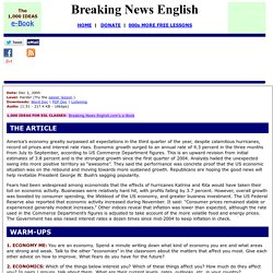 Breaking News English ESL Lesson Plan on US Economy