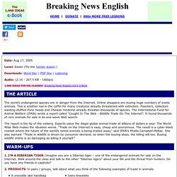 Breaking News English ESL Lesson Plan on Endangered Animals