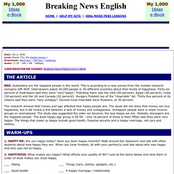 Breaking News English ESL Lesson Plan on Happiness